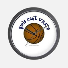 Brown/Blue Basketball Wall Clock
