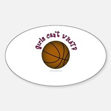 Brown/Pink Basketball Sticker (Oval)