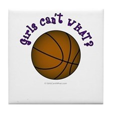 Brown/Purple Basketball Tile Coaster