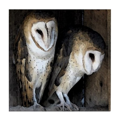Barn Owls Tile Coaster