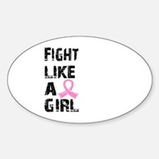 Licensed Fight Like a Girl 21.8 Sticker (Oval)