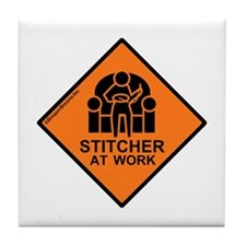 Stitcher At Work Tile Coaster