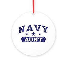 Navy Aunt Ornament (Round)