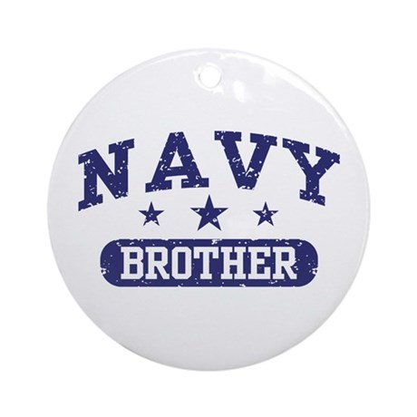 Navy Brother Ornament (Round)