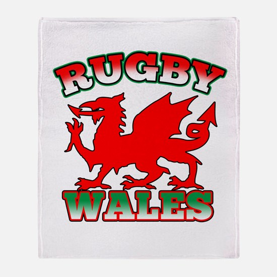 Rugby Wales Flag Throw Blanket