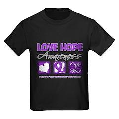 Pancreatic Cancer Love Hope Kids Dark T-Shirt