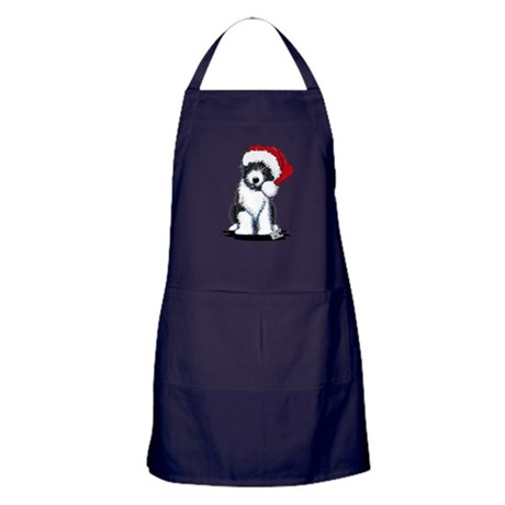 Santa Bearded Collie Apron (dark)