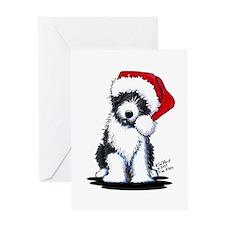 Santa Bearded Collie Greeting Card