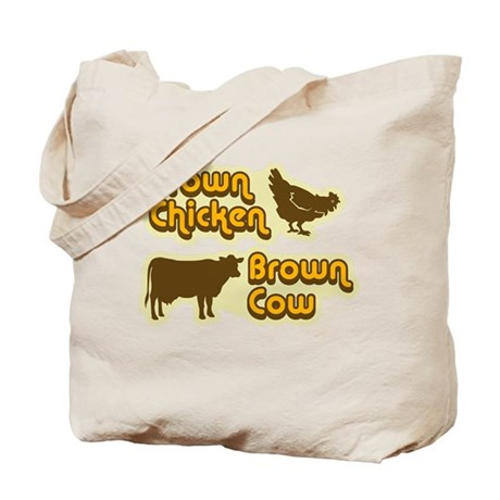 Brown Chicken Cow Tote Bag