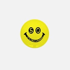 50th birthday smiley face Mini Button (10 pack)