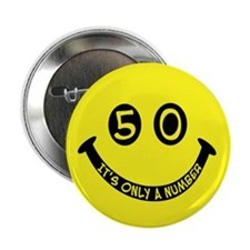 "50th birthday smiley face 2.25"" Button (100 pack)"
