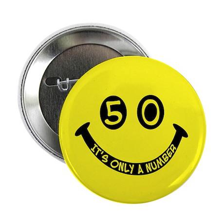 50th birthday smiley face Button