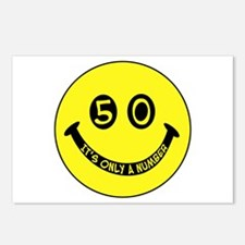 50th birthday smiley face Postcards (Package of 8)
