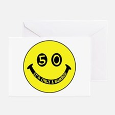 50th birthday smiley face Greeting Cards (Package