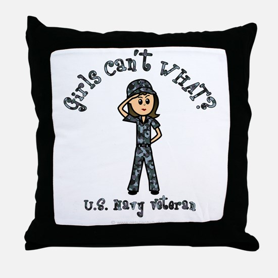 Light Navy Veteran (Blue Camo) Throw Pillow