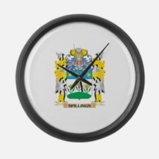 Spillings Family Crest - Coat of Large Wall Clock