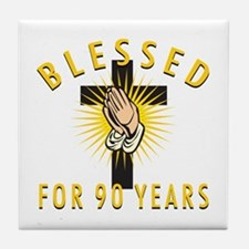 Blessed For 90 Years Tile Coaster