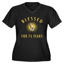 Blessed For 75 Years Women's Plus Size V-Neck Dark