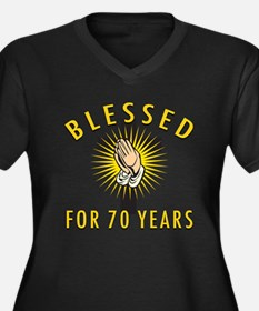 Blessed For 70 Years Women's Plus Size V-Neck Dark