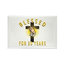 Blessed For 50 Years Rectangle Magnet (100 pack)