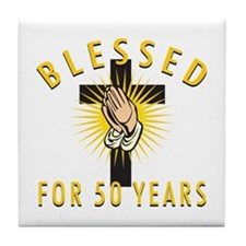 Blessed For 50 Years Tile Coaster
