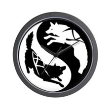 Yin-Yang Huskies Wall Clock