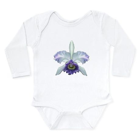 Blue Cat Orchid Long Sleeve Infant Bodysuit