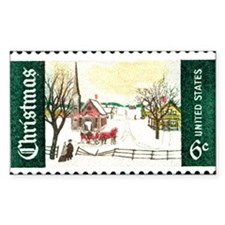 Christmas Stamp Rectangle Decal
