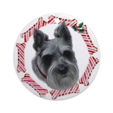 Mini Schnauzer Xmas Ornament (Round)