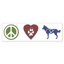 Peace, Love & Sled Dogs Bumper Bumper Sticker