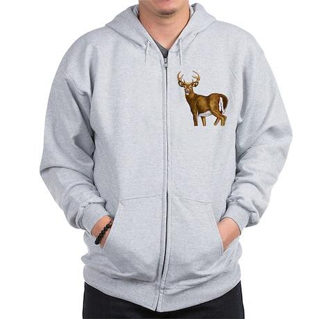 American White Tail Deer Buck Zip Hoodie