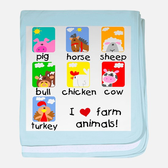 I Love Farm Animals baby blanket