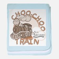 All Aboard Train baby blanket