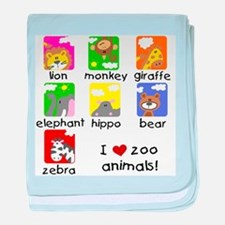 I Love Zoo Animals baby blanket