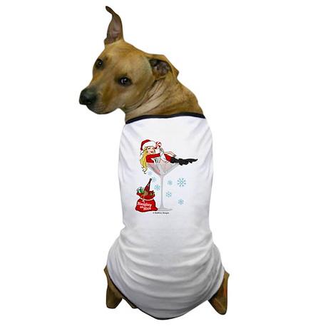 Santa Girl Martini Dog T-Shirt