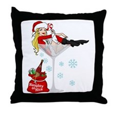 Santa Girl Martini Throw Pillow
