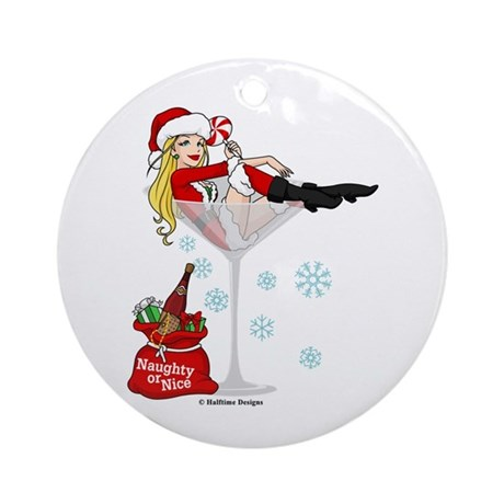 Santa Girl Martini Ornament (Round)