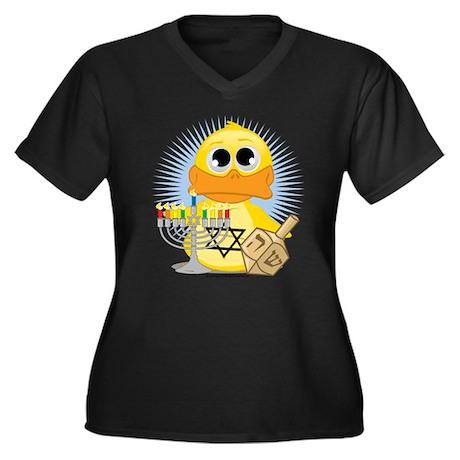 Hanukkah Duck Women's Plus Size V-Neck Dark T-Shir