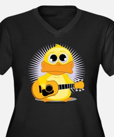 Acoustic Guitar Duck Women's Plus Size V-Neck Dark