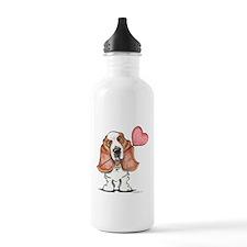 Basset Heart Balloon Water Bottle