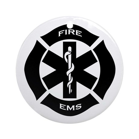 Fire and EMS Ornament (Round)