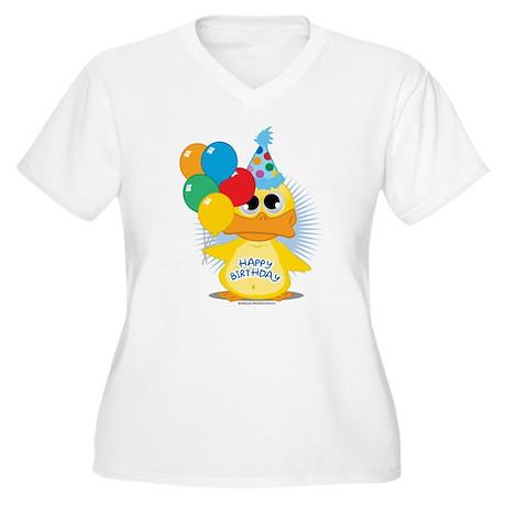 Happy Birthday Duck Women's Plus Size V-Neck T-Shi