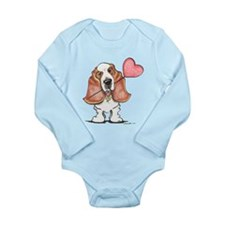 Basset Heart Balloon Long Sleeve Infant Bodysuit
