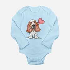 Basset Heart Balloon Long Sleeve Infant Bodysuit