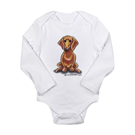 Smooth Red Dachshund Long Sleeve Infant Bodysuit
