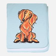 Longhair Dachshund Lover baby blanket