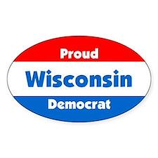 Proud Wisconsin Democrat Oval Decal
