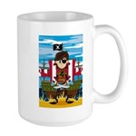 Little Eyepatch Pirate and Ship Large Coffee Mug