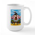 Little Eyepatch Pirate and Ship Large Coffee Mug