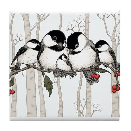 Chickadee Family Tile Coaster